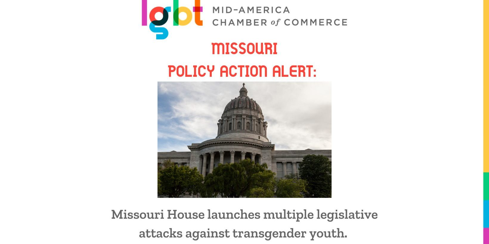 Missouri Capitol with headline Missouri House launches multiple legislative attacks against transgender youth